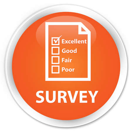 questionnaire: Survey (questionnaire icon) orange glossy round button Stock Photo