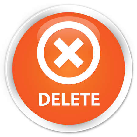 delete: Delete orange glossy round button Stock Photo
