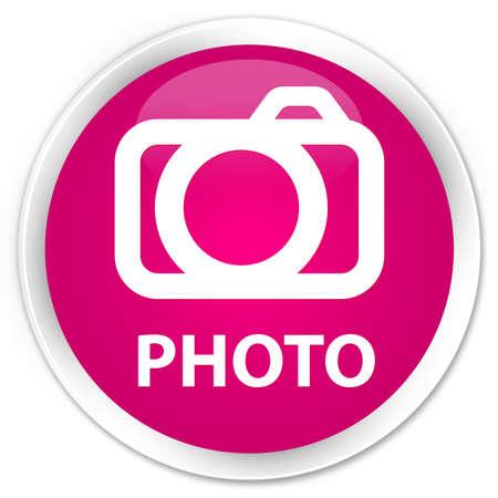 Photo (camera icon) pink glossy round button