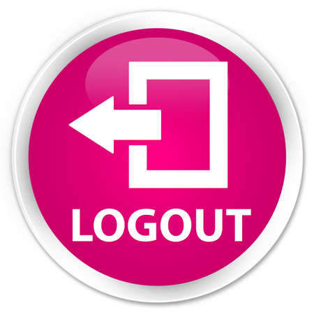logout: Logout pink glossy round button