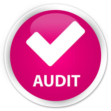 allow: Audit (validate icon) pink glossy round button