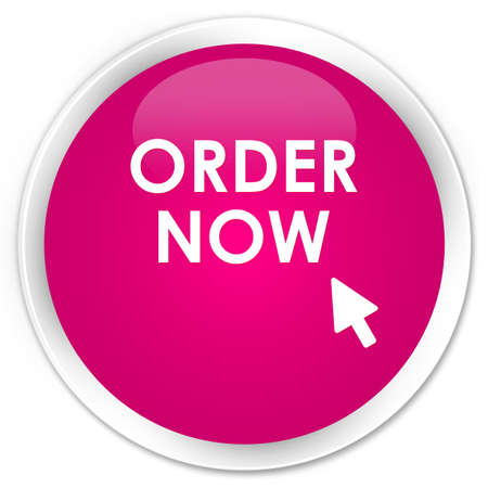 order: Order now pink glossy round button Stock Photo