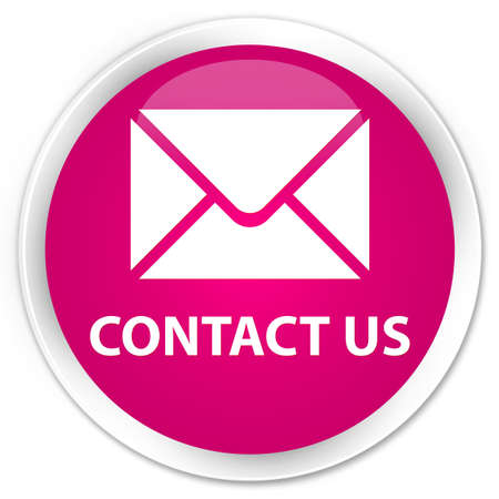 email contact: Contact us (email icon) pink glossy round button Stock Photo