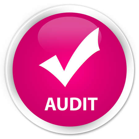 validate: Audit (validate icon) pink glossy round button