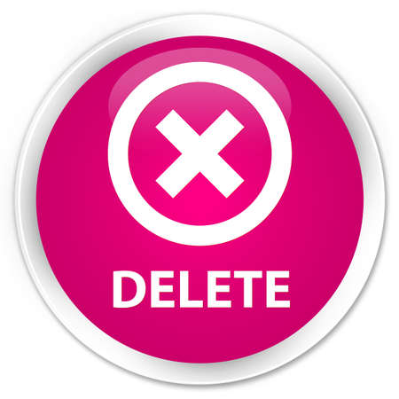 Delete pink glossy round button Stock Photo