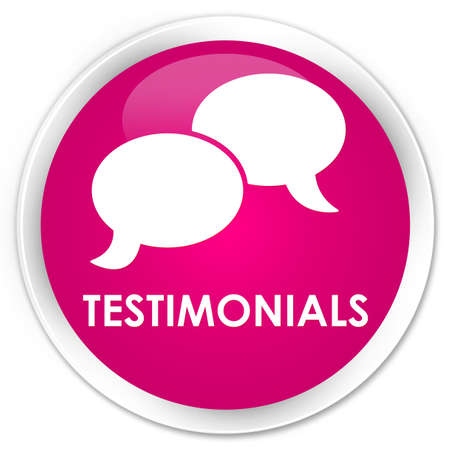 authenticate: Testimonials (chat icon) pink glossy round button