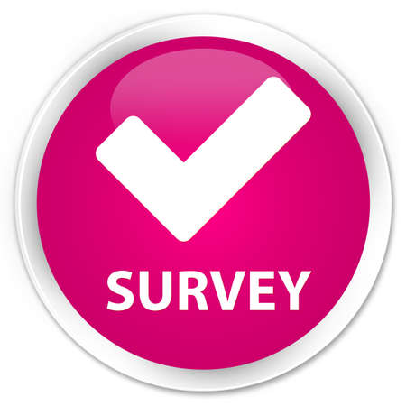allow: Survey (validate icon) pink glossy round button Stock Photo