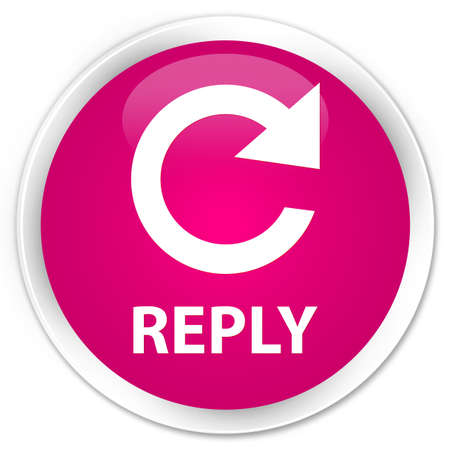 reply: Reply (rotate arrow icon) pink glossy round button