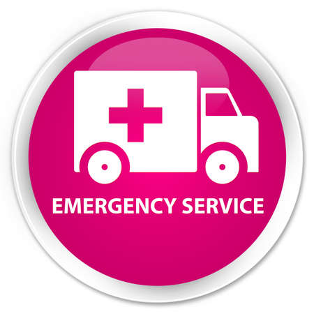 heathcare: Emergency service pink glossy round button Stock Photo