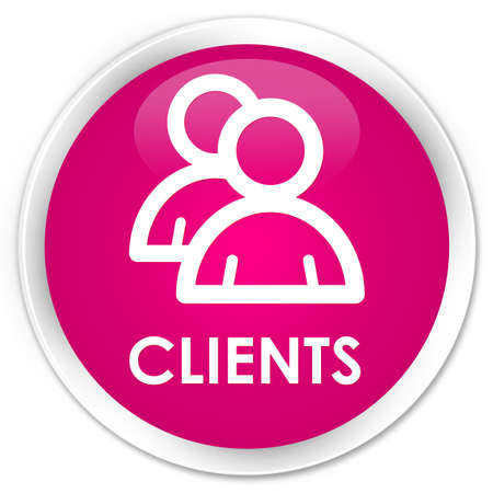 Clients (group icon) pink glossy round button