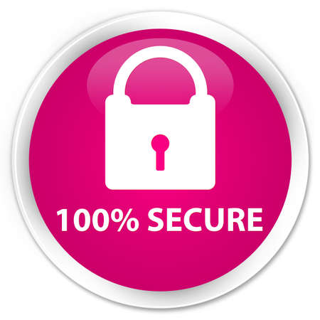 defend: 100% secure pink glossy round button