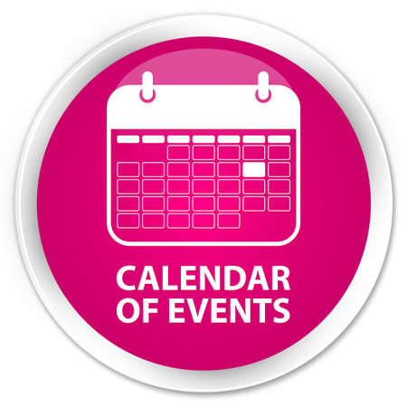 event planner: Calendar of events pink glossy round button