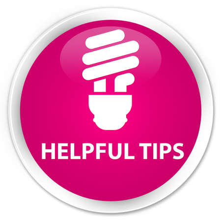 helpful: Helpful tips (bulb icon) pink glossy round button