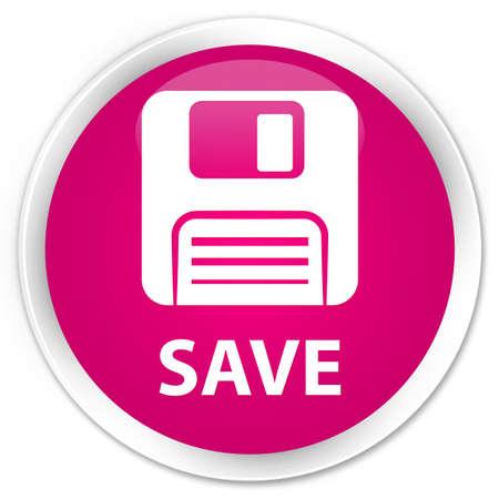 floppy disk: Save (floppy disk icon) pink glossy round button