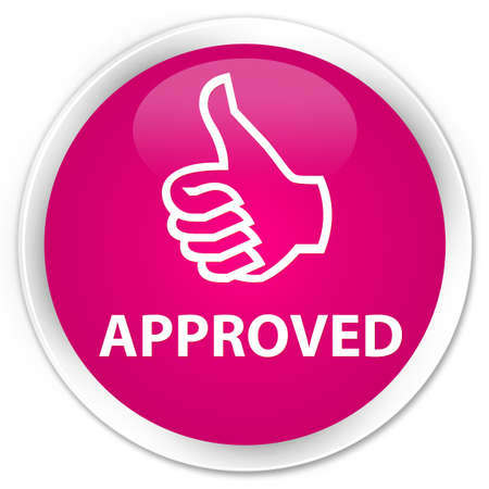 thumbs up icon: Approved (thumbs up icon) pink glossy round button Stock Photo
