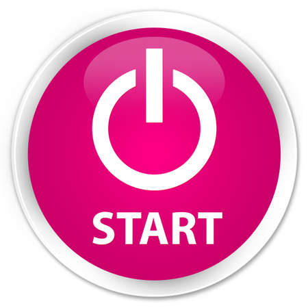 turn up: Start (power icon) pink glossy round button Stock Photo