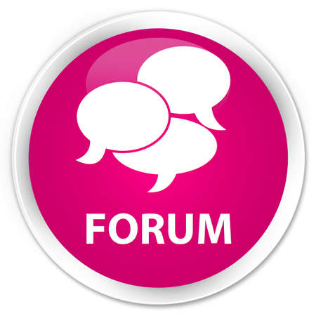 comments: Forum (comments icon) pink glossy round button Stock Photo