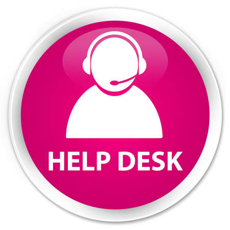 help desk: Help desk (customer care icon) pink glossy round button