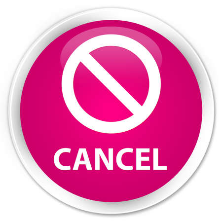 cancellation: Cancel (prohibition sign icon) pink glossy round button Stock Photo