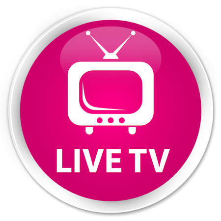 tv station: Live tv pink glossy round button