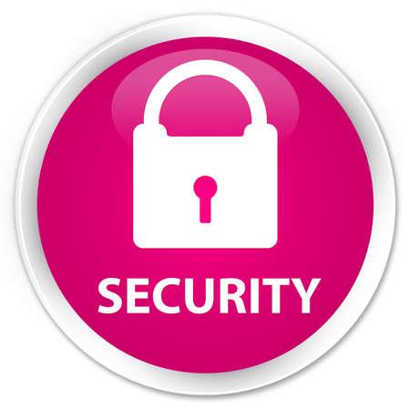 key hole shape: Security (padlock icon) pink glossy round button Stock Photo
