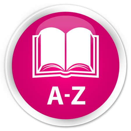 az: A-Z (book icon) pink glossy round button Stock Photo