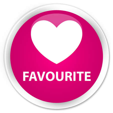 favourite: Favourite (heart icon) pink glossy round button