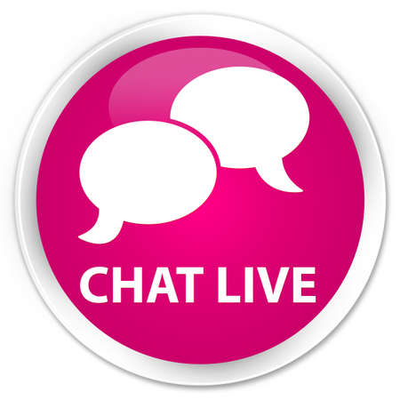 round: Chat live pink glossy round button