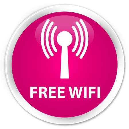 wlan: Free wifi (wlan network) pink glossy round button Stock Photo