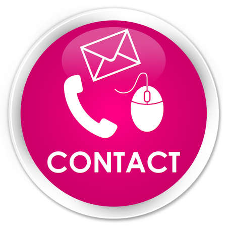 email contact: Contact (phone, email and mouse icon) pink glossy round button