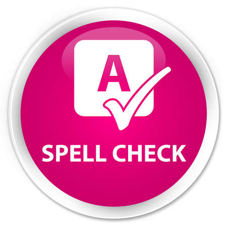 word processors: Spell check pink glossy round button