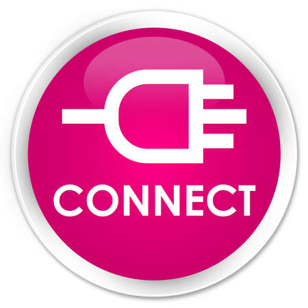 round: Connect pink glossy round button