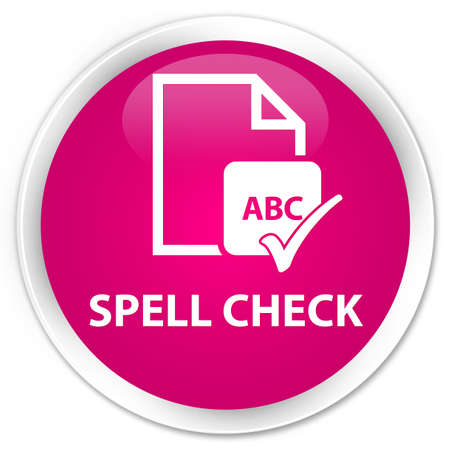ok sign language: Spell check document pink glossy round button Stock Photo