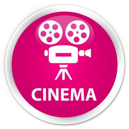 cinematographic: Cinema (video camera icon) pink glossy round button