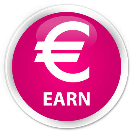 euro sign: Earn (euro sign) pink glossy round button Stock Photo