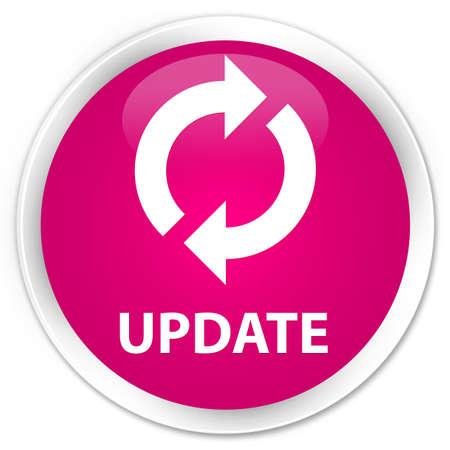 update: Update pink glossy round button Stock Photo