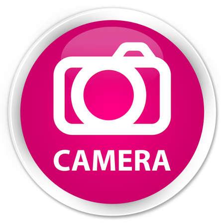 digital slr: Camera pink glossy round button Stock Photo