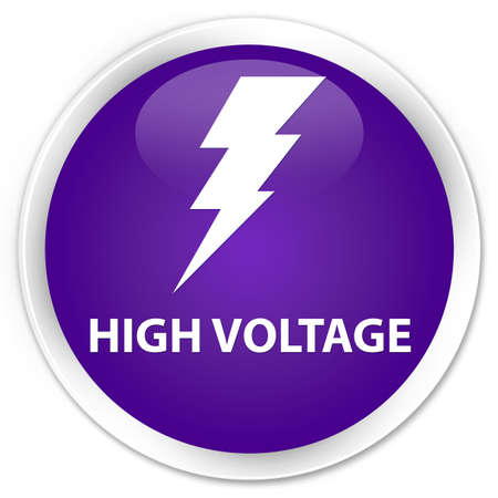 3d lightning: High voltage (electricity icon) purple glossy round button Stock Photo