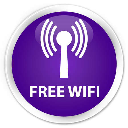wlan: Free wifi (wlan network) purple glossy round button