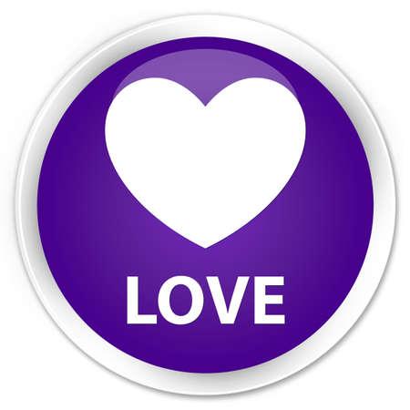 valentin's: Love purple glossy round button