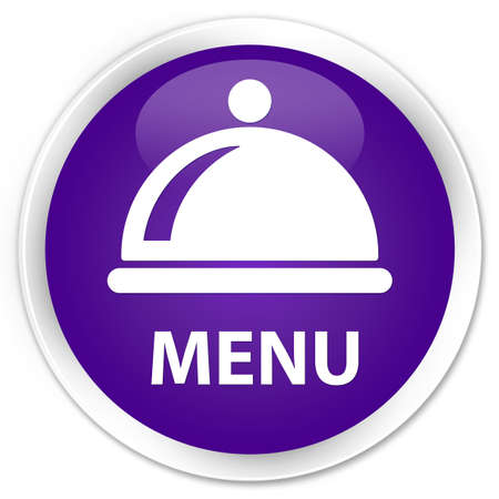 cater: Menu (food dish icon) purple glossy round button