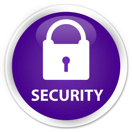 safeguard: Security (padlock icon) purple glossy round button