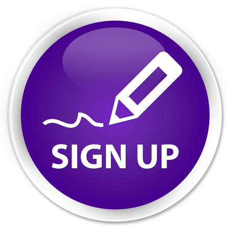 sign up: Sign up purple glossy round button Stock Photo