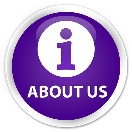 about us: About us purple glossy round button Stock Photo