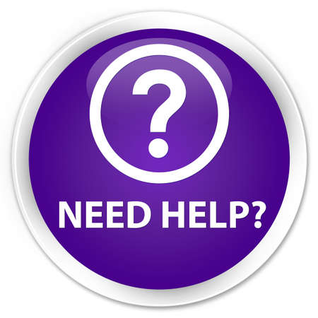 need help: Need help (question icon) purple glossy round button