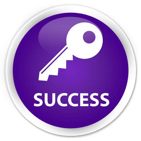 success key: Success (key icon) purple glossy round button Stock Photo