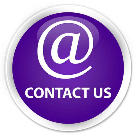 email contact: Contact us (email address icon) purple glossy round button