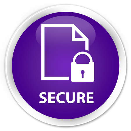 defend: Secure (document page padlock icon) purple glossy round button