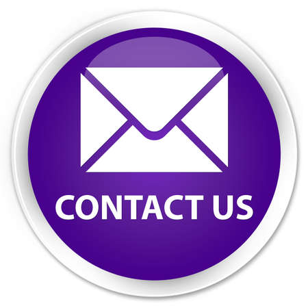email contact: Contact us (email icon) purple glossy round button