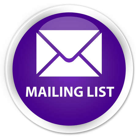 flysheet: Mailing list purple glossy round button Stock Photo